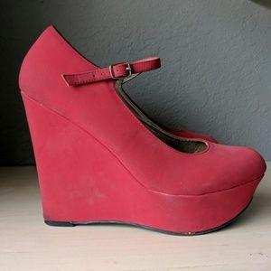 Charlotte Russe Watermelon Red Platform Wedge Heel